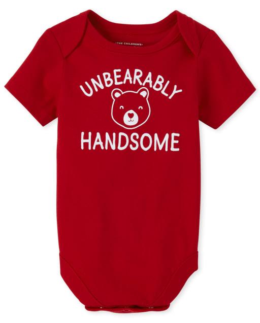 Baby Boys Short Sleeve 'Unbearably Handsome' Bear Graphic Bodysuit