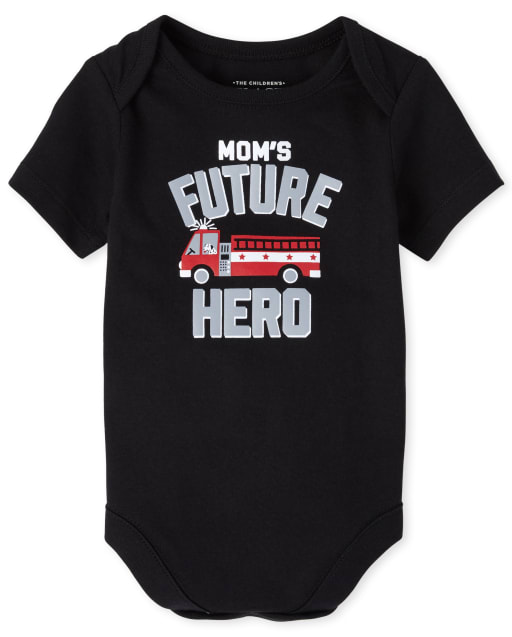Baby Boys Short Sleeve 'Mom's Future Hero' Fire Truck Graphic Bodysuit