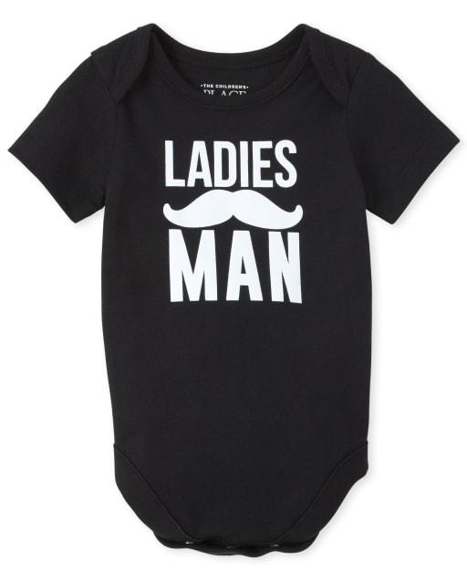 Baby Boys Short Sleeve 'Ladies Man' Mustache Graphic Bodysuit