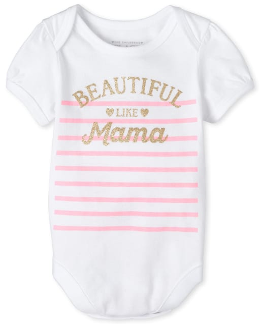 Baby Girls Short Sleeve Glitter 'Beautiful Like Mama' Striped Matching Graphic Bodysuit