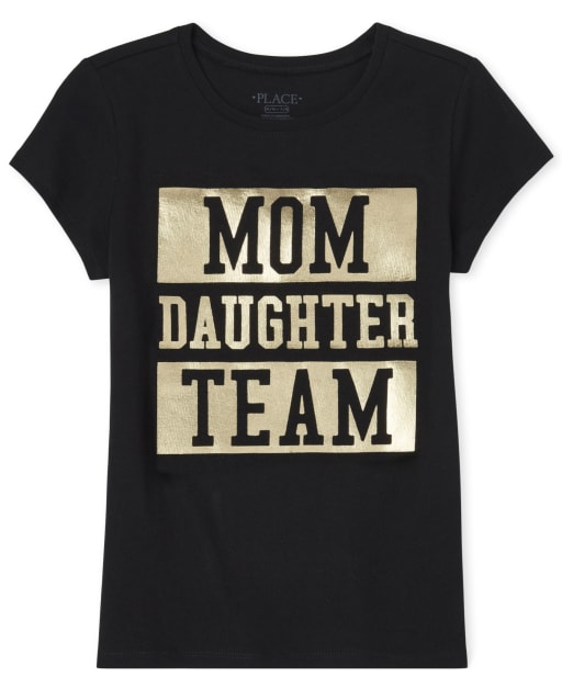 Girls Matching Family Short Sleeve Foil 'Mom Daughter Team' Graphic Tee