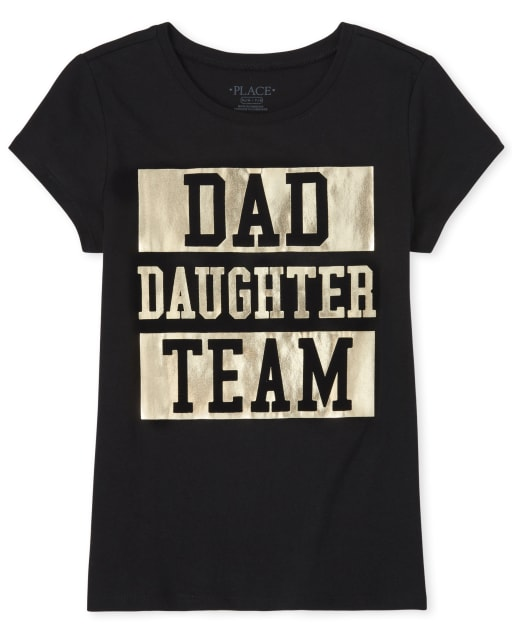 Girls Matching Family Short Sleeve Foil 'Dad Daughter Team' Graphic Tee