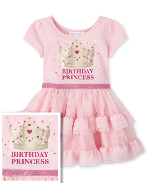 Baby And Toddler Girls Short Sleeve Foil And Glitter 'Birthday Princess' Crown Knit To Woven Tutu Dress