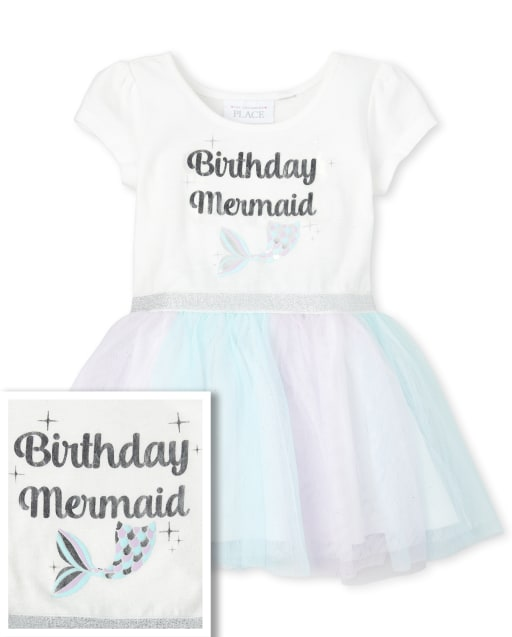 Baby And Toddler Girls Short Sleeve Foil 'Birthday Mermaid' Knit To Woven Tutu Dress