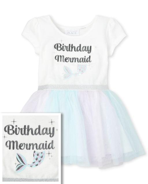Lámina de manga corta para bebés y niñas pequeñas ' Sirena de cumpleaños ' Vestido de tutú tejido a tejido