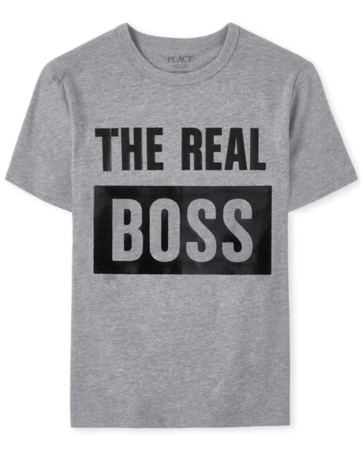 Boys Matching Family Short Sleeve 'The Real Boss' Matching Graphic Tee