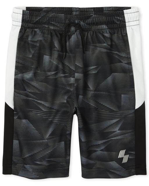 Boys Mix And Match Side Stripe Print Knit Performance Basketball Shorts