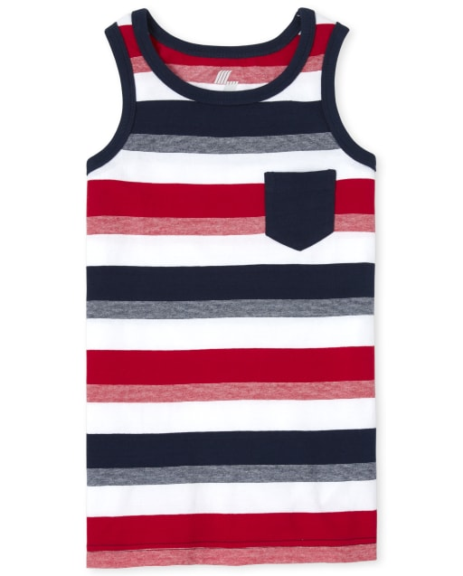 Boys Americana Mix And Match Sleeveless Striped Pocket Tank Top