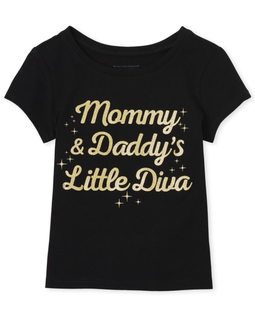 Toddler Girls Short Sleeve Glitter 'Mommy And Daddy's Little Diva' Graphic Tee