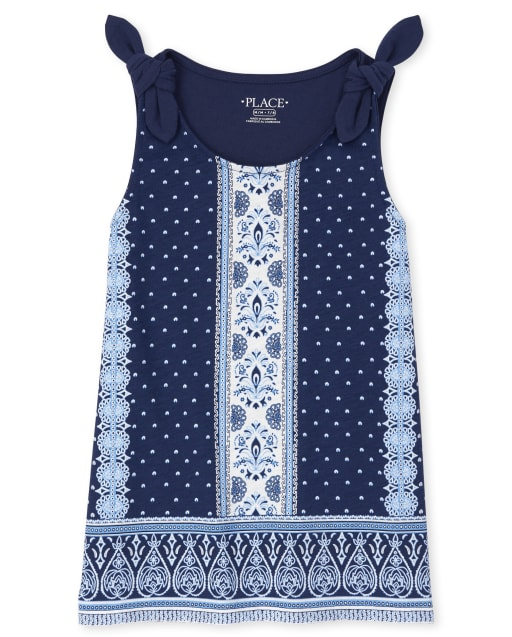 Girls Sleeveless Paisley Floral And Dot Print Tie Shoulder Tank Top