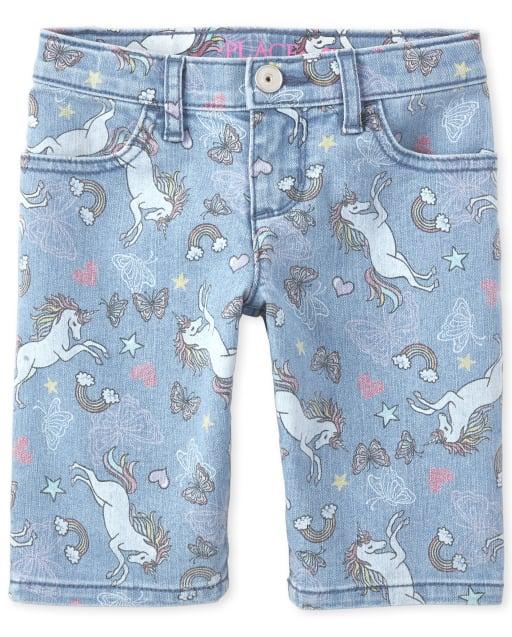 Girls Unicorn Print Denim Skimmer Shorts