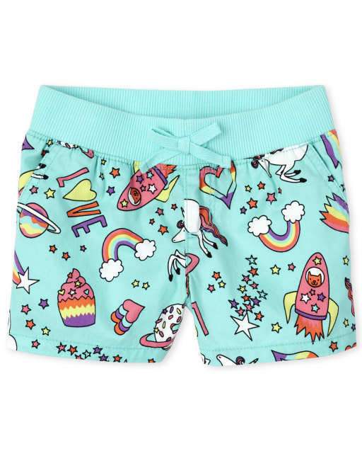 Girls Print Knit Waistband Woven Pull On Shorts