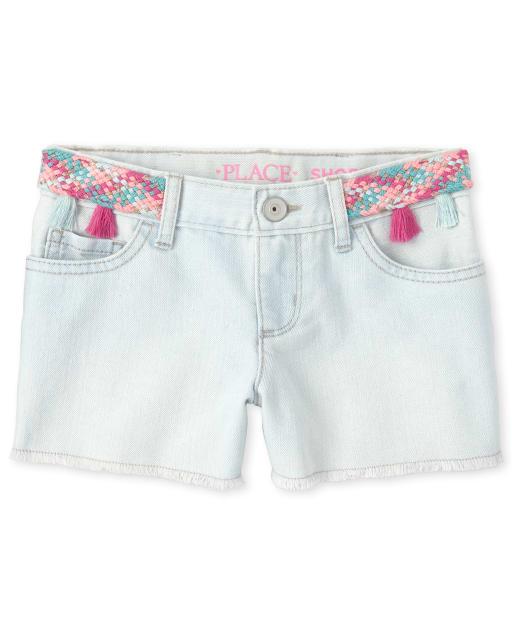 Girls Tassel Denim Shortie Shorts