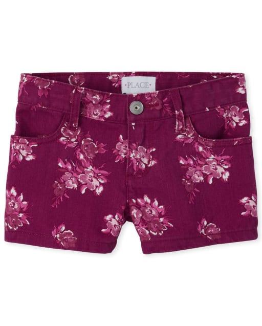 Girls Floral Print Denim Shortie Shorts