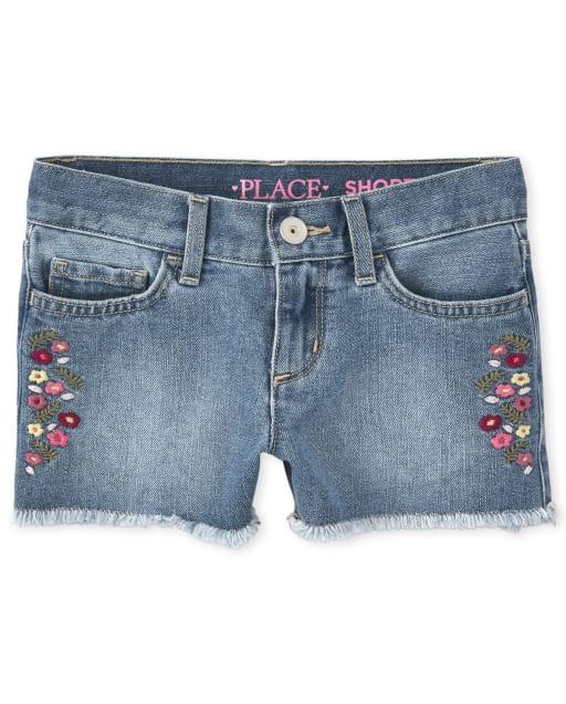 Girls Embroidered Floral Frayed Hem Denim Shortie Shorts
