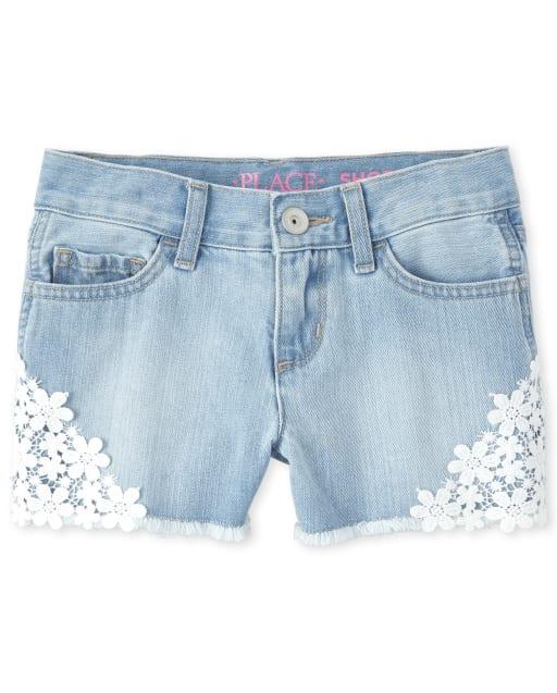 Girls Crochet Denim Shortie Shorts