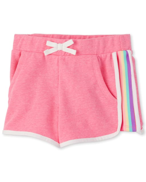 Girls Active Rainbow Side Stripe French Terry Knit Shorts