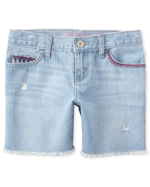 Girls Embroidered Pocket Distressed Denim Midi Shorts