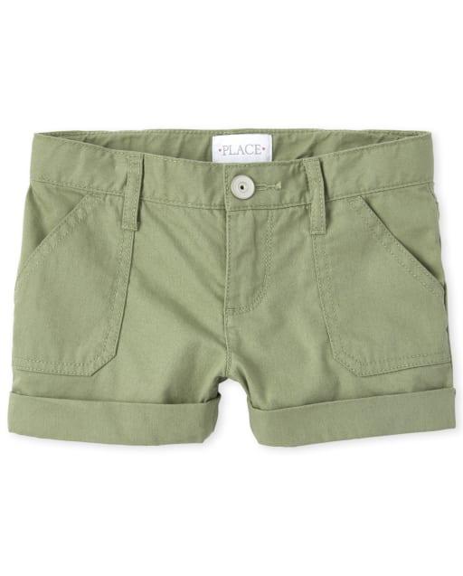 Girls Roll Cuff Twill Shorts