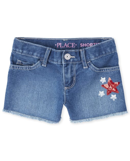 Girls Americana Embroidered Glitter Star Frayed Hem Denim Shortie Shorts