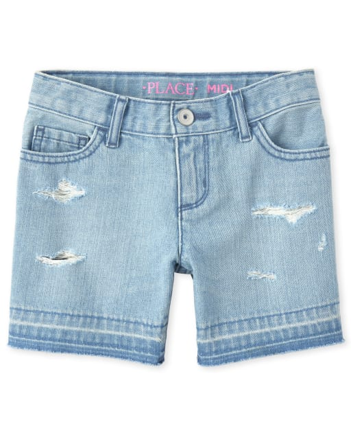Girls Let Down Hem Distressed Denim Midi Shorts