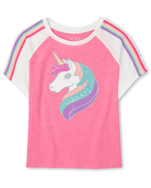 Girls Active Short Sleeve Glitter And Sequin Rainbow Striped Unicorn Raglan Top