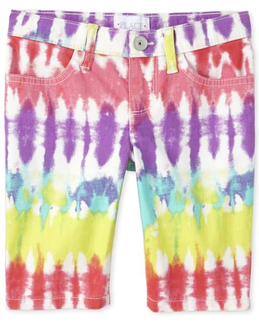 Shorts de denim skimmer con estampado de niñas