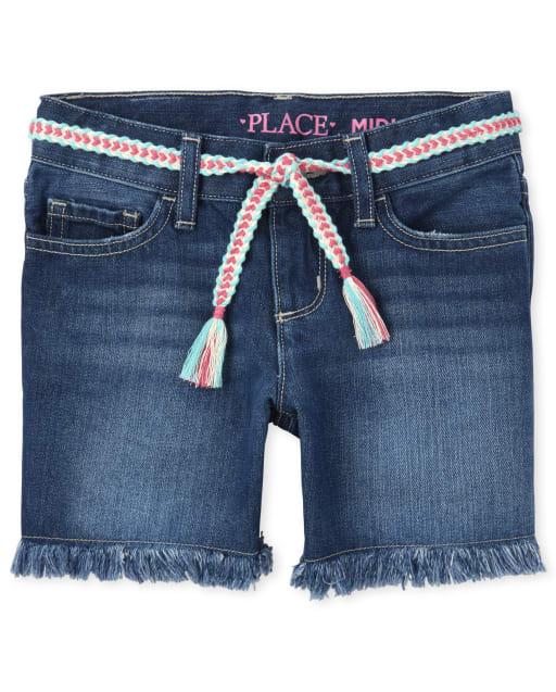 Girls Tassel Belted Frayed Hem Denim Midi Shorts