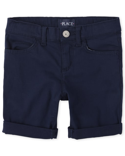 Girls Roll Cuff Denim Skimmer Shorts