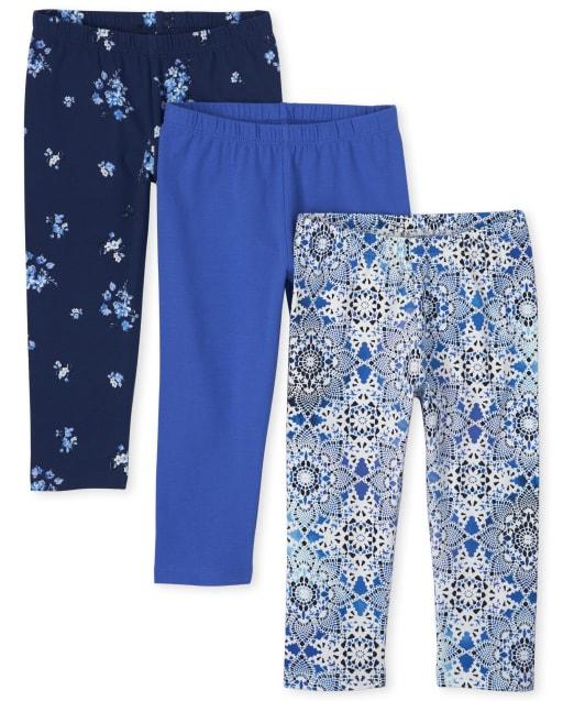 Girls Print And Solid Knit Capri Leggings 3-Pack