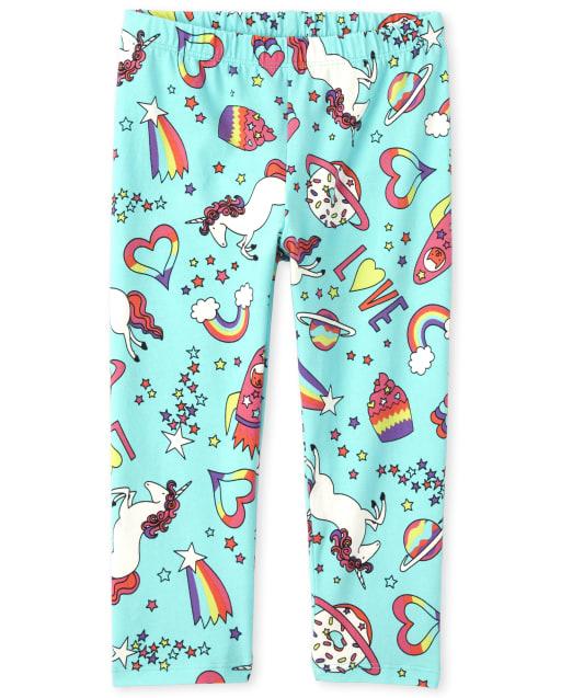 Girls Unicorn Doodle Print Knit Leggings