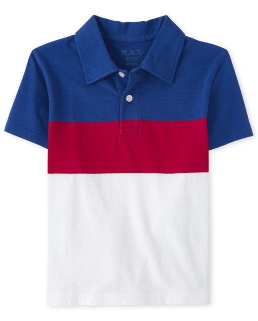 Boys Short Sleeve Print Jersey Polo