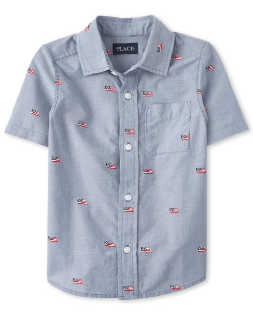 Camisa americana de manga corta con estampado de cambray con estampado de bandera de Dad And Me para niños