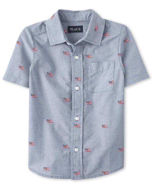 Boys Americana Dad And Me Short Sleeve Flag Print Chambray Matching Button Down Shirt