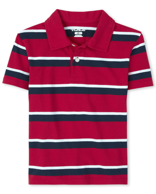 Boys Uniform Short Sleeve Striped Jersey Polo