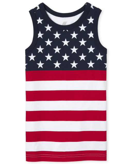 Boys Americana Mix And Match Sleeveless Graphic And Print Tank Top