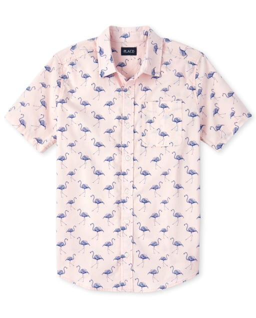 Mens Dad And Me Short Sleeve Flamingo Print Poplin Matching Button Down Shirt