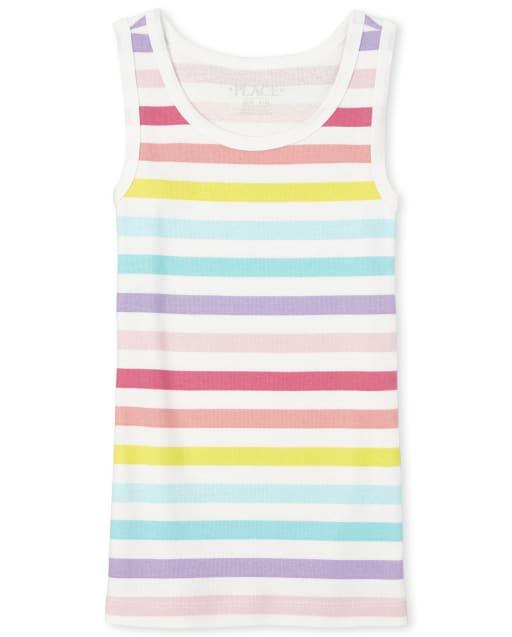 Girls Sleeveless Rainbow Striped Tank Top