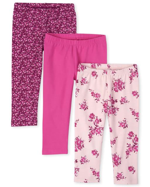 Girls Floral Print Knit Capri Leggings 3-Pack