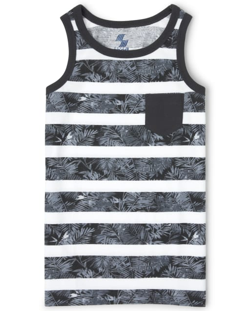 Boys Mix And Match Sleeveless Striped Palm Print Pocket Tank Top