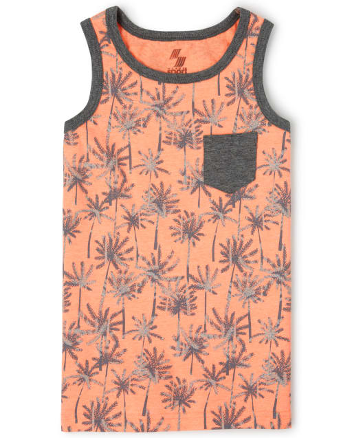 Boys Mix And Match Sleeveless Palm Tree Print Pocket Tank Top