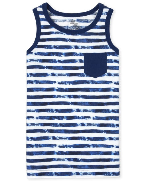 Boys Mix And Match Sleeveless Striped Pocket Tank Top