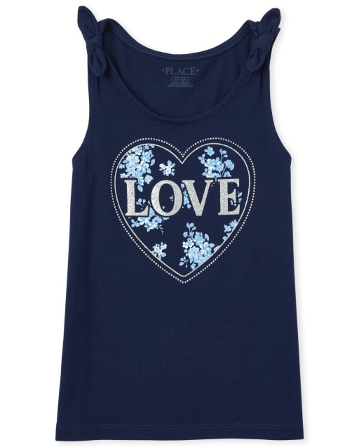 Girls Mix And Match Sleeveless Glitter 'Love' Graphic Tie Shoulder Tank Top