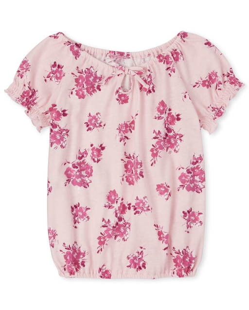 Girls Mix And Match Short Sleeve Floral Print Cut Out Top