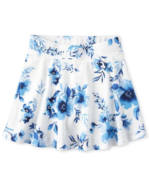 Girls Mix And Match Floral Print Knit Skort
