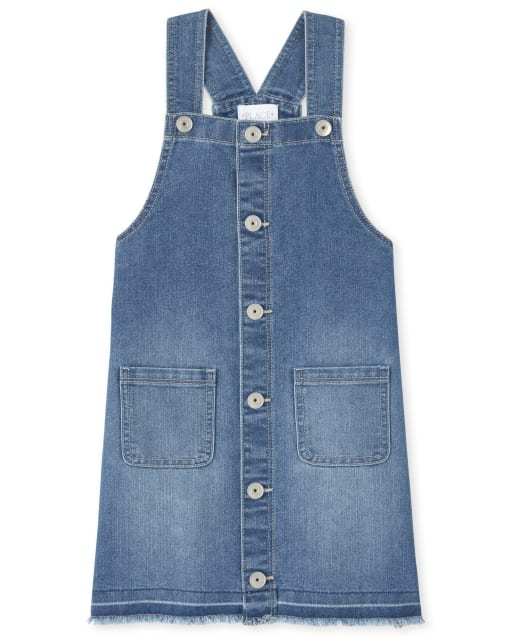 Girls Sleeveless Button Front Frayed Hem Denim Skirtall