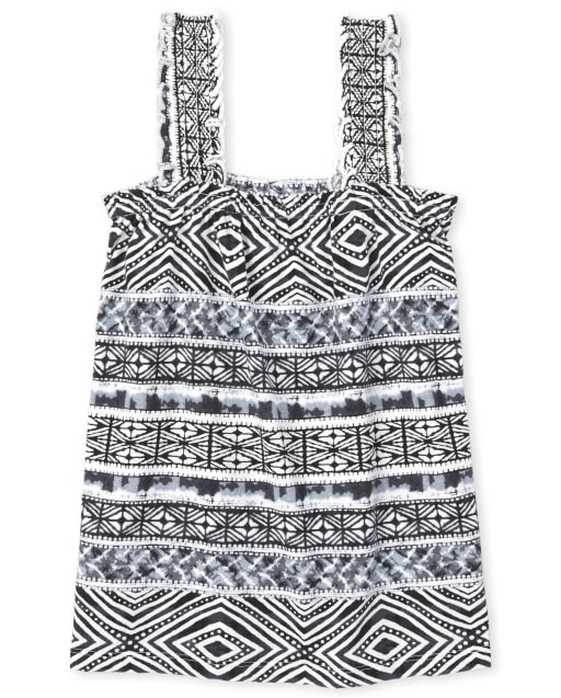 Girls Mix And Match Sleeveless Print Smocked Tank Top