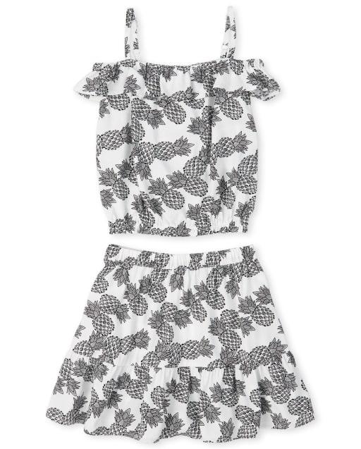 Girls Short Sleeve Pineapple Print Off Shoulder Top And Woven Ruffle Skirt Set