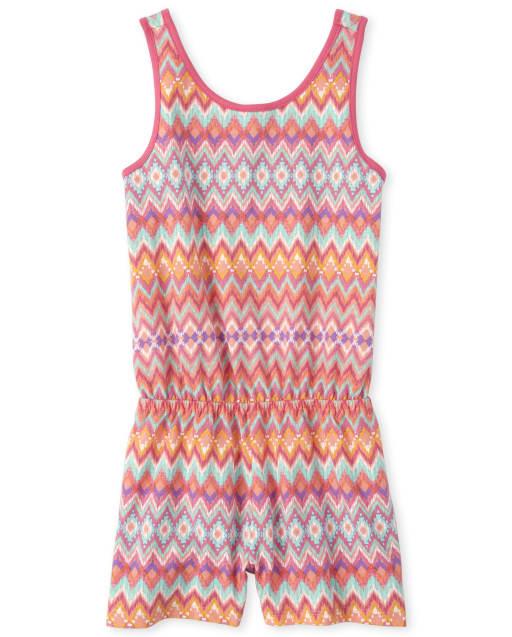 Girls Sleeveless Print Knit Cross Back Romper
