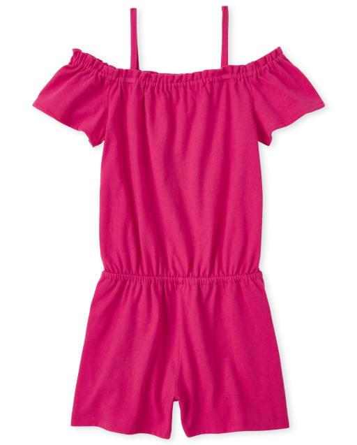 Girls Short Sleeve Floral Print Knit Ruffle Romper